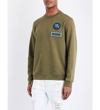 Versace Versus Logo Embroidered Cotton Jersey Jumpers Green