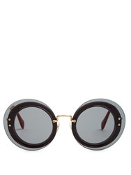 Miu Miu Reveal Round Frame Sunglasses Grey Multi