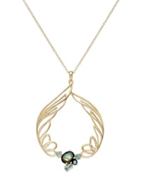 Sis By Simone I Smith 18K Gold Over Sterling Silver Necklace Abalone And Blue Crystal Angel Wing Circle Pendant