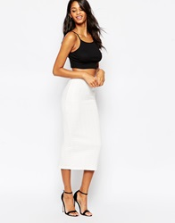 Asos Pencil Skirt In Cable Knit Texture Winterwhite