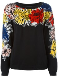 Boutique Moschino Floral Intarsia Jumper Black