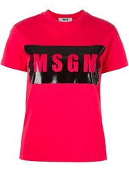 Msgm Front Logo T Shirt Red