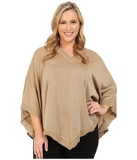 Michael Michael Kors Plus Size Lurex V Neck Poncho Dark Camel Women's Sweater Taupe