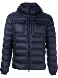 Moncler Hooded Puffer Jacket Blue