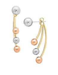 Lord And Taylor 14K White Yellow Rose Gold Ear Jackets Tri Tone