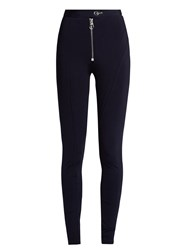 Versace Zigzag Stitched Jersey Leggings Navy