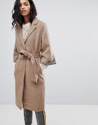 Y.A.S Abbey Wool Blend Belted Duster Coat Iced Coffee Brown
