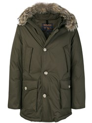 Woolrich Fur Trim Padded Jacket Cotton Feather Down Polyamide Coyote Fur S Green