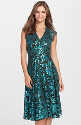 Eva Franco 'Marcel' Sequin Lace Fit And Flare Dress Teal Fanfar