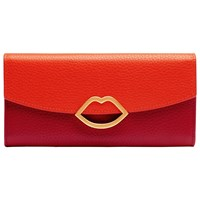 Lulu Guinness Half Covered Lip Trisha Leather Purse Orange Red