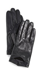 Mackage Leather Gloves With Snap At Wrist Black