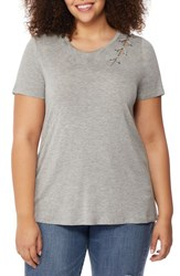 Rebel Wilson X Angels Plus Size Women's Laced Shoulder Tee Light Heather Grey