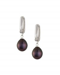 Belpearl 14K Tahitian Black Pearl Hoop Drop Earrings