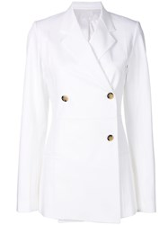 Helmut Lang Classic Double Breasted Coat White