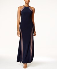 Nightway Petite Open Back Illusion Halter Gown Navy