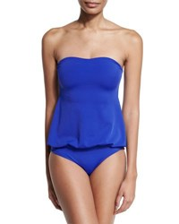 Norma Kamali Strapless Babydoll Mio One Piece Swimsuit Cobalt