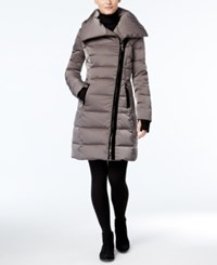 Vera Wang Velvet Trim Asymmetrical Down Puffer Coat Mink