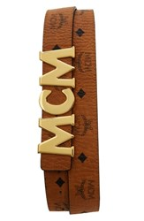 Mcm Letter Coated Canvas Belt Cognac