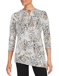 Calvin Klein Three Quarter Sleeve Printed Roundneck Cutout Top Tin Black