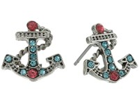 Betsey Johnson Anchors Away Mini Anchor Sutd Earrings Pink Blue Earring