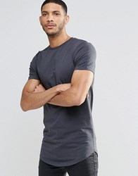 Asos Super Longline Muscle T Shirt With Curved Hem In Washed Black Washed Black