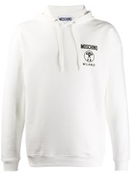 Moschino Double Exclamation Point Print Hooded Sweater White