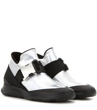 Christopher Kane Metallic Leather Sneakers Silver