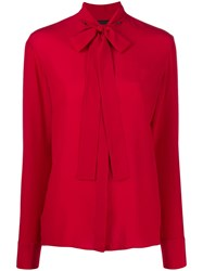 Haider Ackermann Long Sleeved Bow Tie Blouse Red