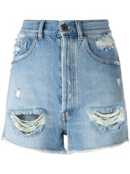 Faith Connexion High Waisted Denim Shorts Blue