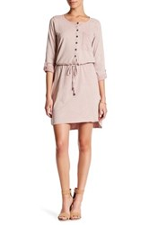 Cable And Gauge Rolled Sleeve Shirt Dress Petite Pink