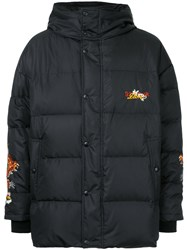Doublet Dragon Embroidered Padded Coat Feather Down Polyester Feather Black