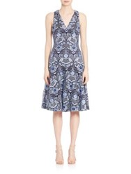 David Meister Embroidered Cocktail Dress Blue Multi