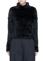 Elizabeth And James 'Iris' Turtleneck Rabbit Fur Top Black