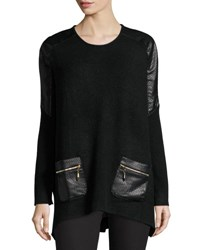 P. Luca Leather Panel Oversized Sweater Black