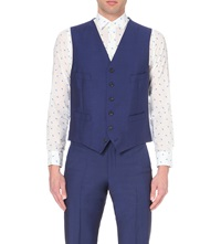 Richard James Satin Back Single Breasted Waistcoat Blue