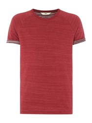 Men's Turn Up Sleeve Raglan T Shirt Dark Red