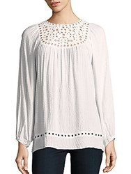 Max Studio Embroidered Long Sleeve Top Ivory