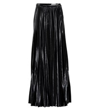 Saint Laurent Velvet Silk Blend Maxi Skirt Black