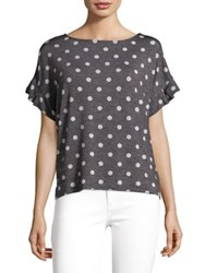 Jones New York Polka Dot Ruffle Sleeve Tee Black Combo