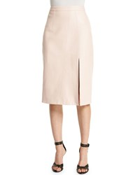 Tanya Taylor Gigi Leather Midi Skirt Light Pink