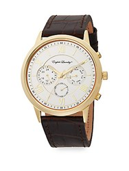 English Laundry Embossed Leather Strap Chronograph Watch Brown Silver