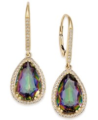 Macy's Mystic Topaz 10 Ct. T.W. And White Topaz 1 2 Ct. T.W. Teardrop Halo Drop Earrings In 14K Gold Yellow Gold