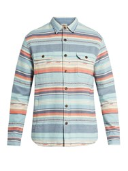 Faherty Geometric Striped Brushed Cotton Shirt Blue Multi
