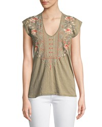 Johnny Was Calida Scoop Neck Embroidered Tee Plus Size Rustic Olive