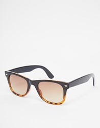 Asos Square Sunglasses In Black To Tortoiseshell Fade Black