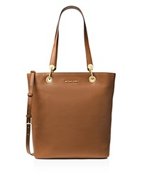 Michael Michael Kors Raven Top Zip North South Large Leather Tote Luggage Gold