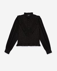 The Kooples Frilly Short Black Top With Long Sleeves