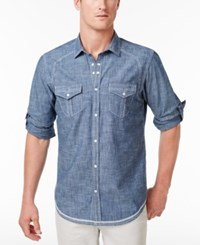 Inc International Concepts Men's Denim Shirt Only At Macy's Basic Navy