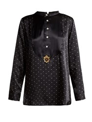 Figue Milagro Polka Dot Print Silk Satin Shirt Black