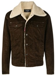 Dsquared2 Shearling Jacket Brown